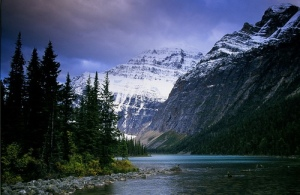 Mt. Edith Cavell (c) and Sorrow Peak (r).